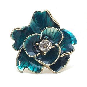 Jewelry - Blue Flower Ring 3D Enamel Gold Tone Bling Floral